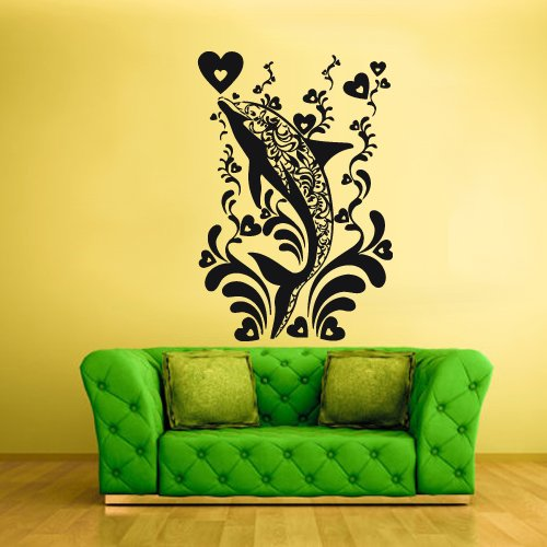 Wall Decal Mural Sticker Sea Ocean Orca Dolphin Fish Whale Animals Design Heart Flowers Tribal (Z1868) front-1027244