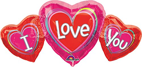 "Anagram International I Love You Shape Balloon, 34 by 16"", Multicolor"
