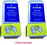 2 x Replacement for T040 Black compatible inks for epson stylus C62 CX3200