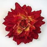 Jumbo Dahlia Artificial Flower Hair Clip/Pin Brooch, Red