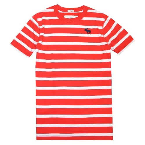 f737c919 Abercrombie & Fitch Men Muscle Fit Moose Logo Striped T shirt (L, Strong  red/white) at Men s Clothing store