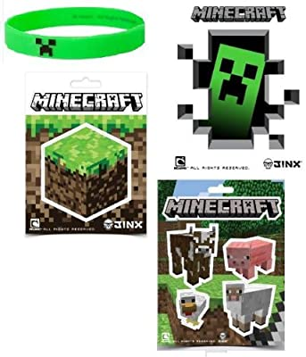 Minecraft Stickers Creeper Rubber Bracelet Stocking Stuffer Gift Set Of 10 Items from MINECRAFT