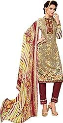 Sanvan Khaki & Maroon Cotton Silk Dress Material