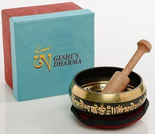Tibetan Singing Bowl Set by Geshe's Dharma, Daily Meditation for Healing Relaxation Therapy ~ Reduce Stress, Resonance Music help how to Meditate for a Transcendental Peaceful Mind, Hand Painted 4
