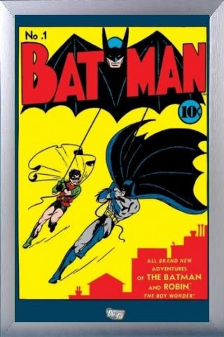 Batman Poster and Frame (Aluminium) - No.1 Issue (36 x 24 inches)
