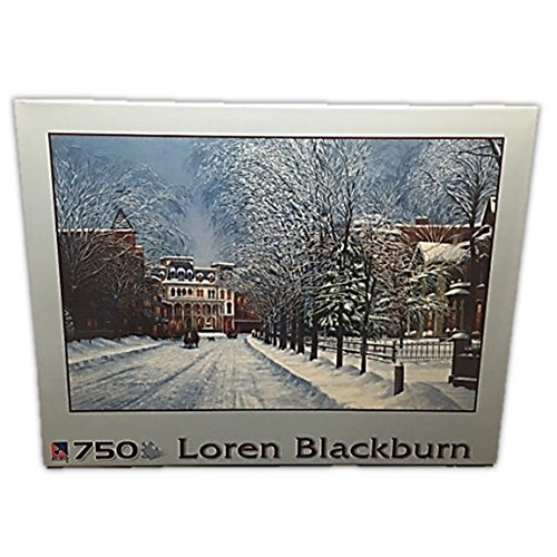 At Twilight 750 Piece Puzzle of a Snowy Village by Artist Loren Blackburn