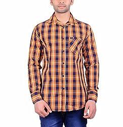 Cotblend Men's Casual Shirt (COTBLEBD13-L, Orange, L)
