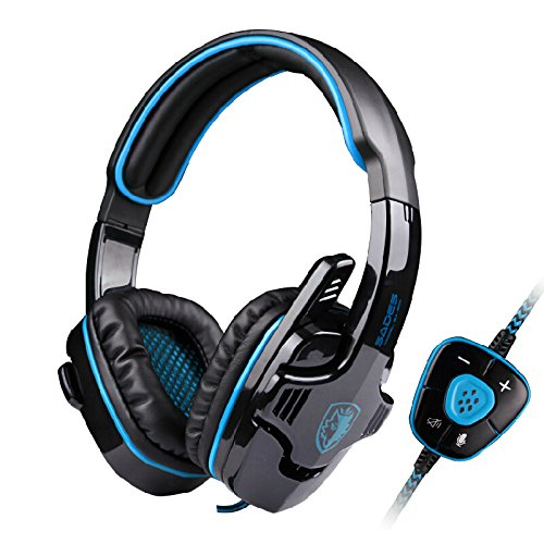 Neon® Professional Stereo Game Headphone 7.1 Surround Wired USB Over Ear Gaming Headset Headband with Microphone for Computer Laptop PC Gamer (Blue) (Xbox Care Package compare prices)