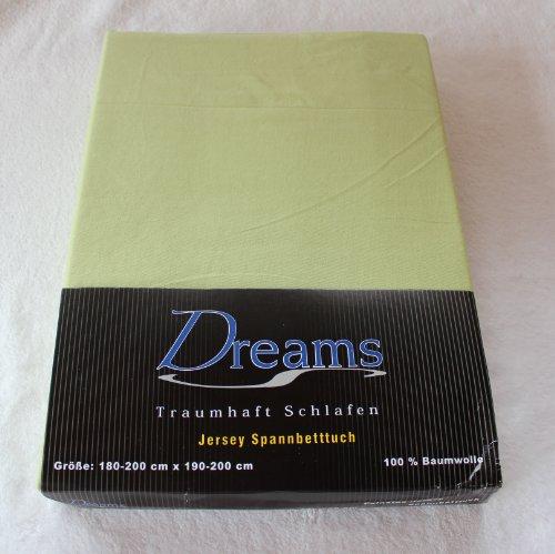 Dreams 100% Baumwolle Jersey Spannbettlaken Farbe Lindgrün grün Größe 180 x 200 bis 200 x 200 cm Spannbettuch Spannlaken mit Rundumgummi