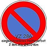 Eingeschränktes Haltverbot, Verkehrsschild StVO Typ 1, Nr. 286-50, 42 cm