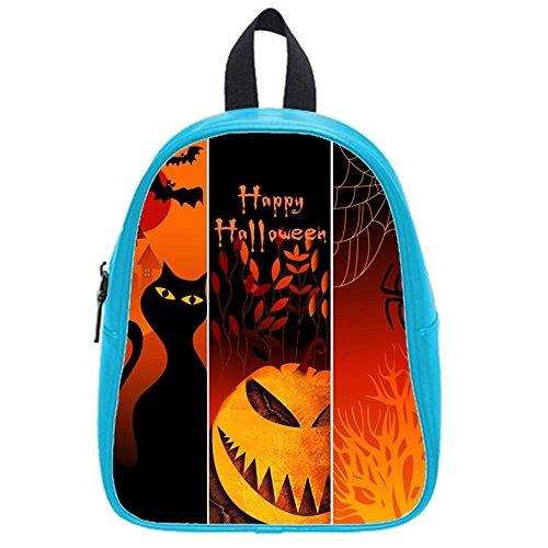 Funny Happy Halloween Elf Monster Kid'S School Bag & Backpack For Kids Blue front-845070