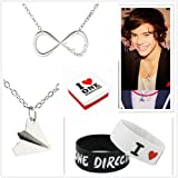 1d Fans Lover Set - Infinite Directioner Necklace + Harry Styles Airplane Necklace + 2pcs I Love 1d Wristband