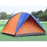 [HONGJING] テント アウトドア キャンプ 折り畳み 簡易テント UVカット 三人/四人用 二重 スクリーンシェード ビーチ 旅行 登山 フィールド トラベル 風防ぐ 防雨 防水性 撥水加工 切り替え ブルー/オレンジ 青