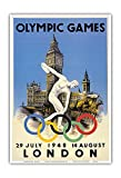 XIV Olympic Summer Games 1948 - London, England - Discus Thrower - Big Ben, Palace of Westminster - Vintage Olympic Games Poster by Walter Herz c.1948 - Master Art Print - 13in x 19in
