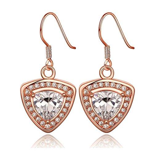 alimab-Orecchini pendenti placcato oro triangolo bianco oro rosa antiallergy