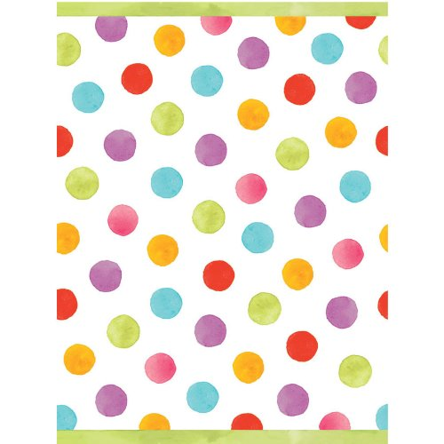 "Amscan Disposable Plastic Lined, Paper Table Cover in Watercolor Polka Dots Fits 8' Tables, 54 x 102"", Multicolored"
