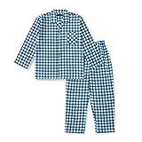 【ノーブランド品】 綿100% 長袖 メンズ パジャマ 春 秋 向け ブロックチェック柄 Mサイズ ブルー