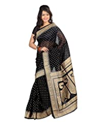 Lookslady Printed Black & Beige Cotton Saree