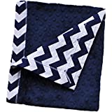 "Cozy Wozy Chevron Print Cotton And Minky Baby Blanket With Mitered Corners, Navy Blue/White, 32"" X 37"""