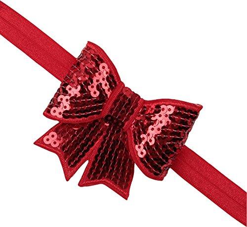 PinkXenia Red sparkly/glitter sequin bowknot elastic Newborn Soft Headband