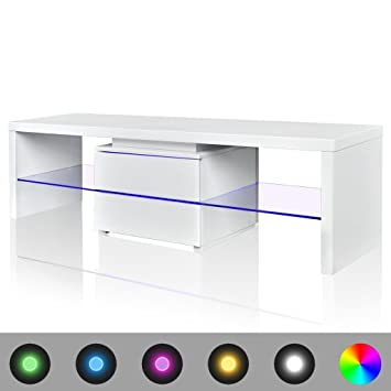 Meuble TV LED blanc brillant 150 cm