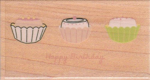 Happy Birthday Cupcakes Wood Mounted Rubber Stamp