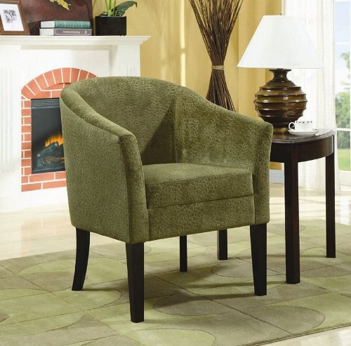 accent chair with bubble design in pistachio finished microvelvet