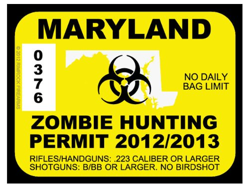 Maryland Zombie Hunting Permit 2012 (Bumper Sticker)