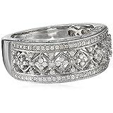 Sterling-Silver-Diamond-Lattice-Ring-1-4-cttw-I-J-Color-I2-I3-Clarity-