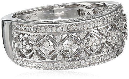 Sterling Silver Diamond Lattice Ring (1/4 cttw, I-J Color, I2-I3 Clarity), Size 7