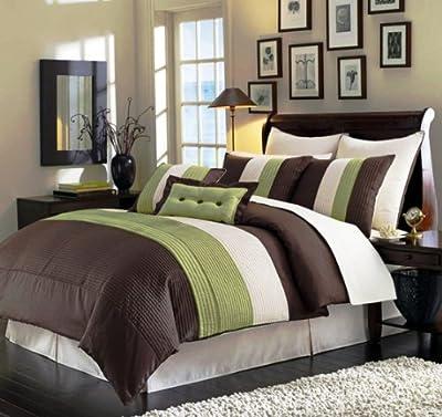 Sage Green Beige Brown Bedding Luxury Stripe Comforter Set Bed-in-a-bag