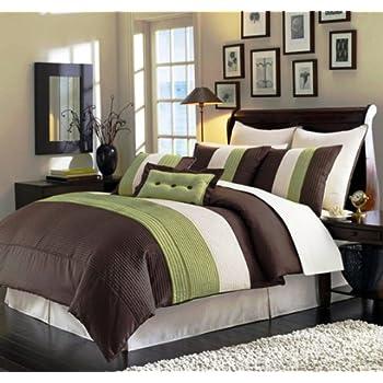 Ideal  Piece Green Brown Beige Regatta Cal California King Comforter Set with accent pillows