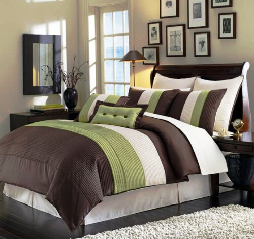 8 Piece Green, Brown, Beige Luxury Stripe Comforter Set Bed-In-A-Bag Set front-903034