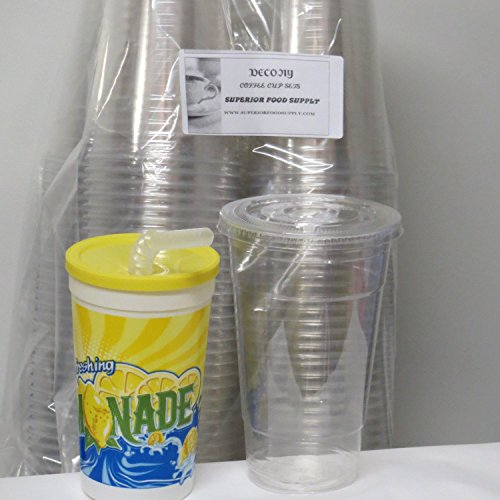 100 Sets 24 Oz Plastic Clear Cups with Flat Lids for Iced Coffee Bubble Boba Tea Smoothie G - Plus 1 re-usable Cup Set (24 Oz Plastic Cups With Lids compare prices)