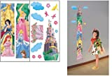 ENFANTS STICKERS MURAUX princesse HAUTEUR MESURE FICHE DE CROISSANCE AUTOCOLLANTS FILLES CHAMBRE DE MUR CHAMBRE DECOR Décoration Sticker Adhesif Mural Géant Répositionnable (2 FEUILLES EN 1 SET)...