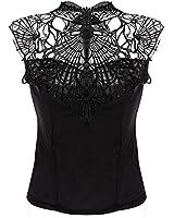 Zeagoo Women's Lace and Chiffon Backless Blouse Sleeveless Shirts Tops