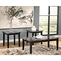 Big Sale Contemporary Faux Marble Occasional Accent Table Set Coffee End