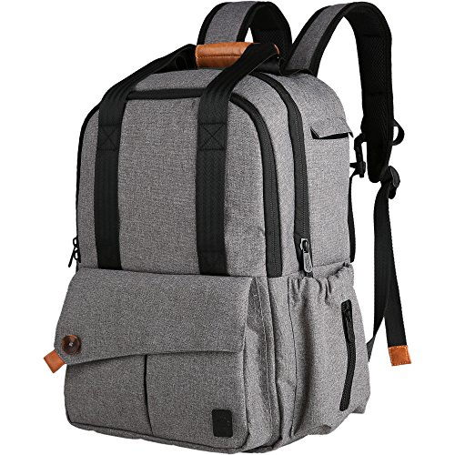 Ferlin Multi-function Baby Diaper Nappy Bags Backpack with Changing Pad, Fashion Design with Anti-Water Material for Both Mom & Dad (Grey-0723)