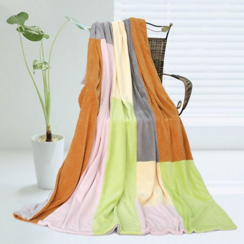 Onitiva - [Paradise] Soft Coral Fleece Patchwork Throw Blanket (59 By 78.7 Inches) front-538074