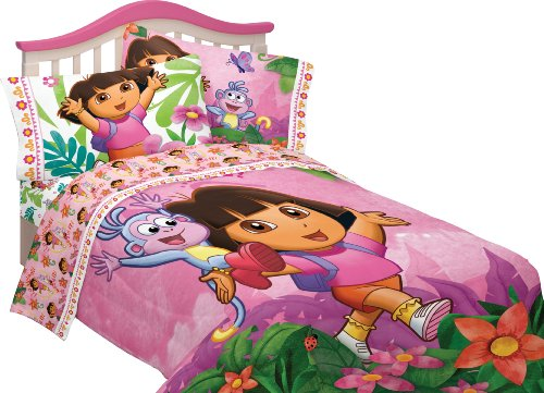 Nickelodeon Dora Run Skip Jump Microfiber Sheet Set, Twin