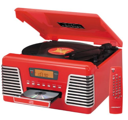 Crosley CR712 Autorama Turntable with CD Player and AM/FM Radio, Red