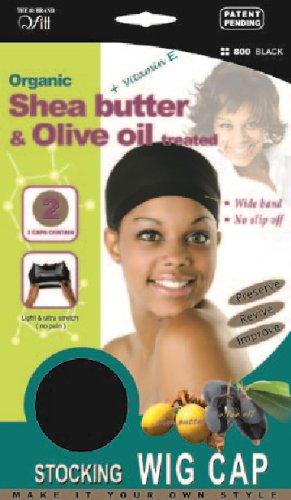 Organic Olive Oil Tea-Tree Oil Treated Stocking Wig Cap - Black (2 Caps)