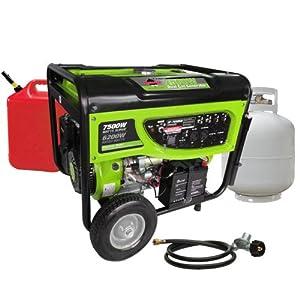Smarter Tools ST-GP7500DEB Propane/Gasoline Generator with Electric Start and Battery, 7500-watt