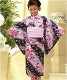 キッズ女の子浴衣&兵児帯&下駄3点セット黒地桜小花(100・110・120)