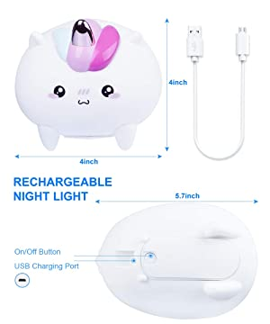 Silicone Nursery Nightlights Tap Control Lamp Gift Idea for Christmas Unicorn LED Night Light Birthday Multi Colour Changing /& USB Rechargeable