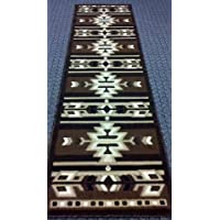 South West Native American Rug Runner 32 In. X 10 Ft. Brown #113