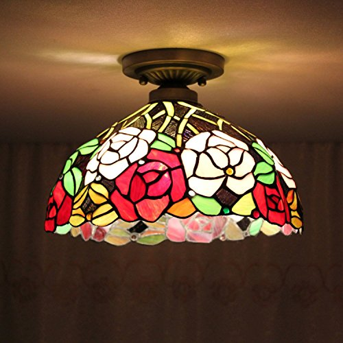8-inch Vintage Pastoral Stained Glass Tiffany Colourful Rose Ceiling Light Living Room Chandelier Hallway Chandelier
