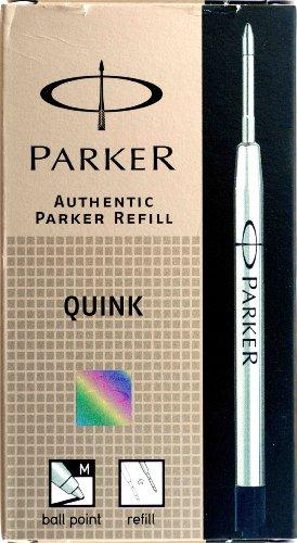 Parker - Quink: Boite de 12 Recharges Bille Noir Pointe Moyenne