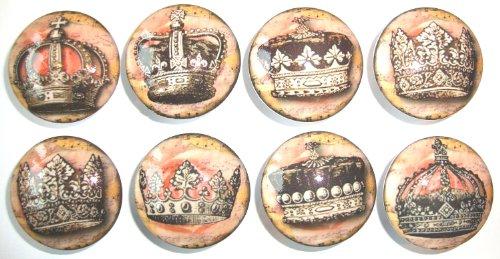 Set of 8 Vintage Princess Tiara Dresser Drawer Knobs (Princess Crown Drawer Knobs compare prices)