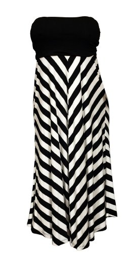 Plus Striped Dress Skirt Black